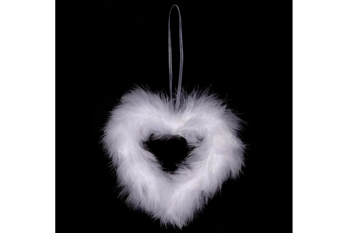Srdce, dekorace z peří, barva bílá