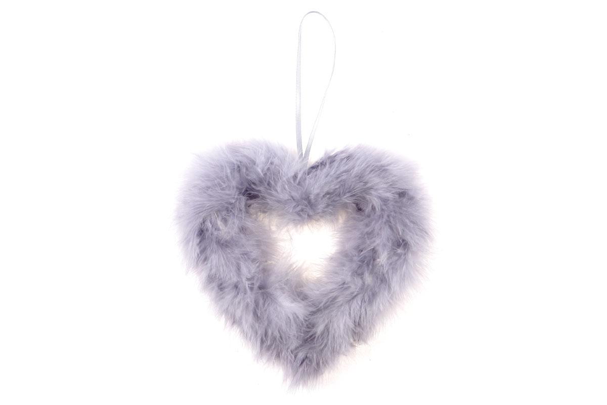 Srdce, dekorace z peří, barva šedá
