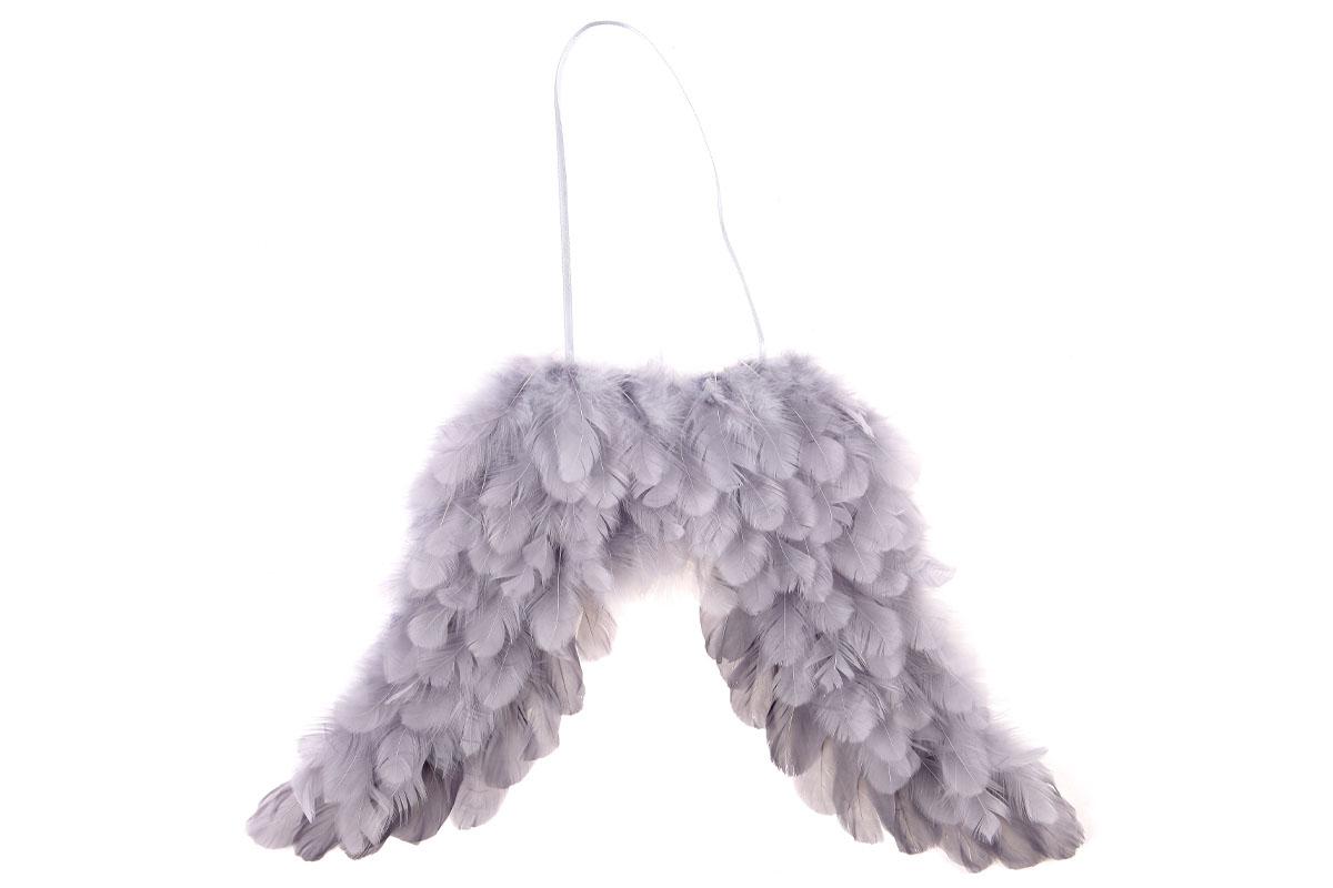 Andělská křídla z peří , barva šedá