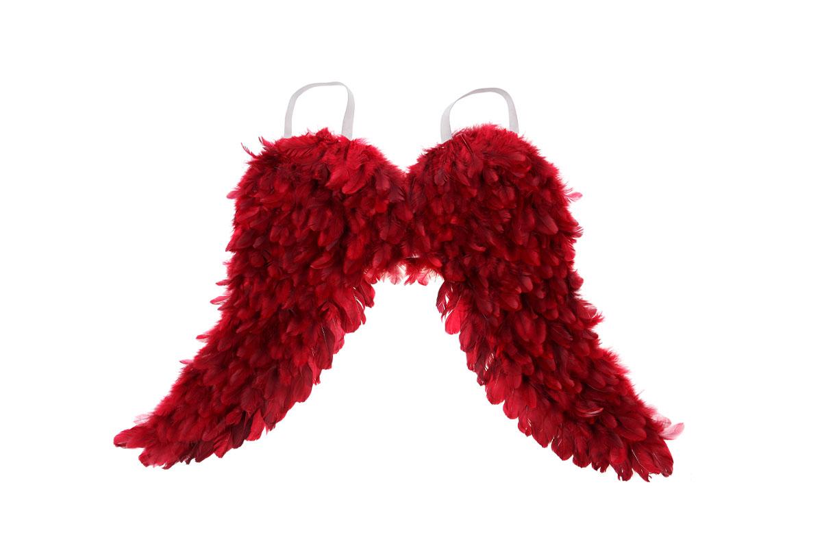 Andělská křídla z peří , barva červená