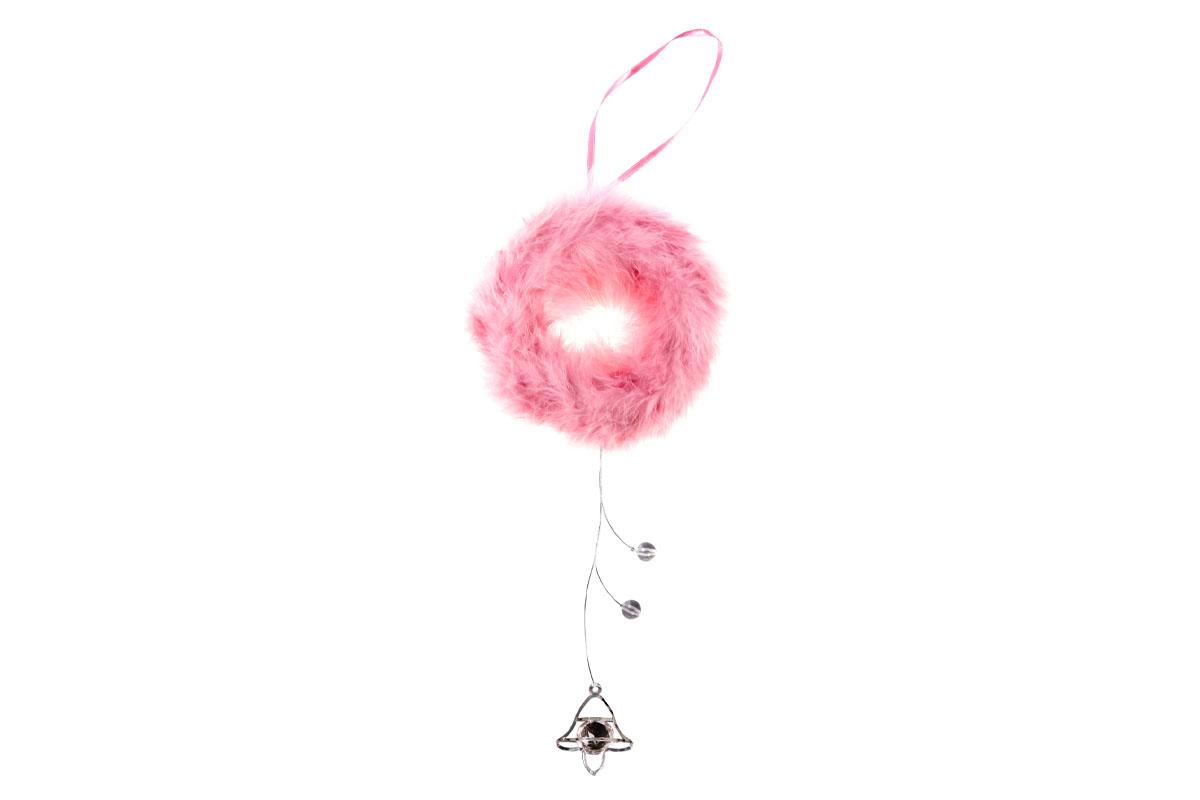Dekorace z peří závěsná - věneček, barva růžová