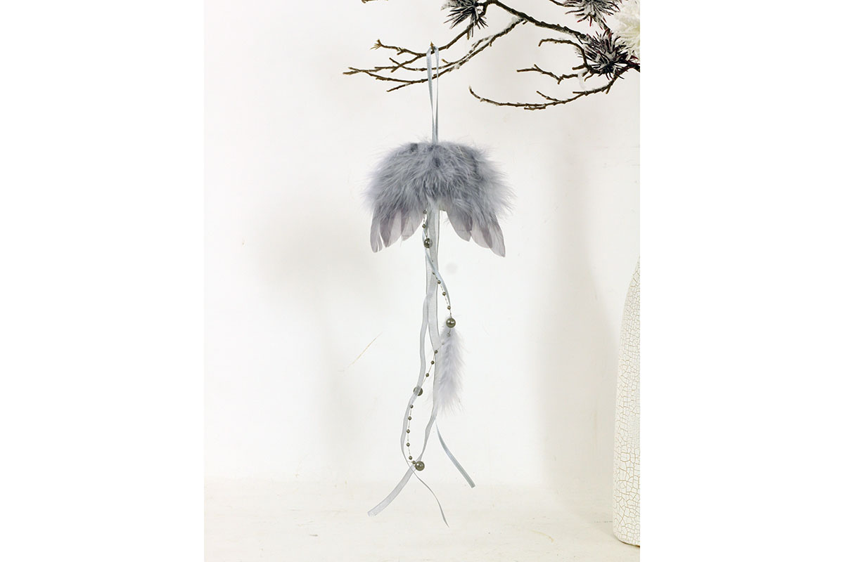 Anjelské krídla z peria, farba sivá, 12 ks v balení, cena za 1 ks