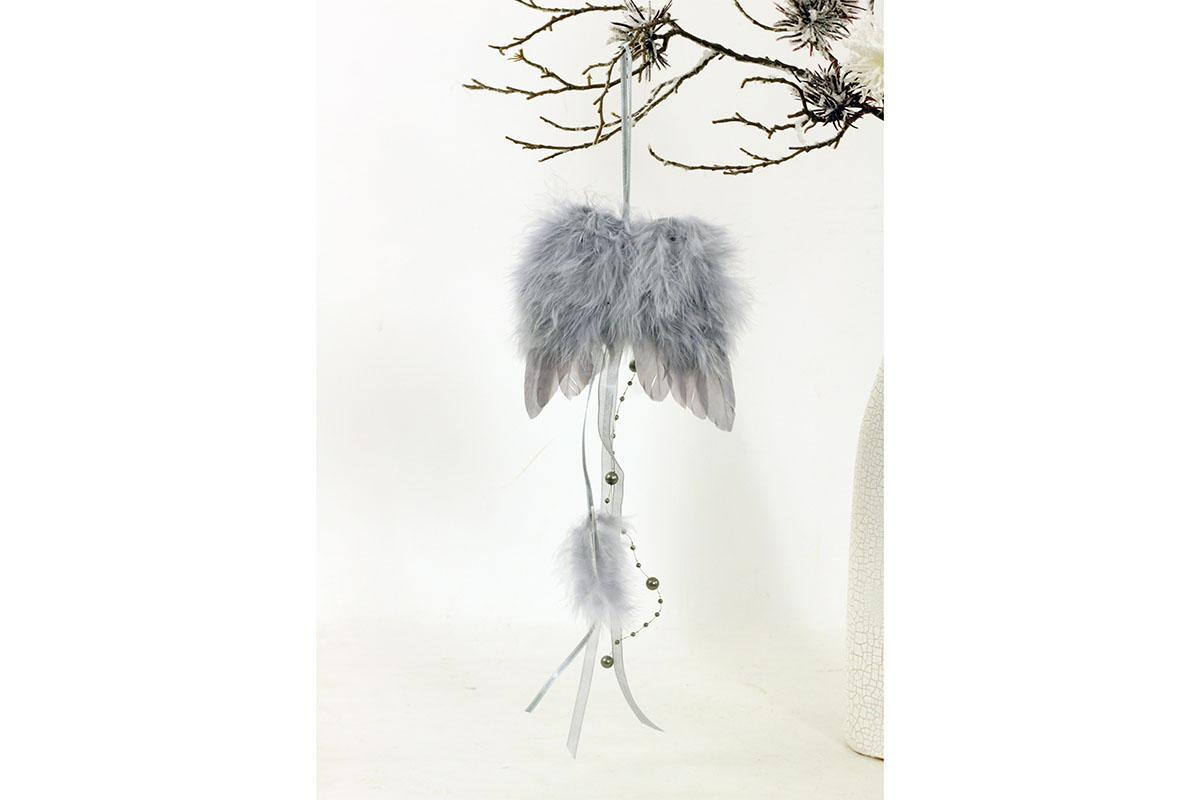 Anjelské krídla z peria, farba šedá, 12 ks v balení, cena za 1 ks