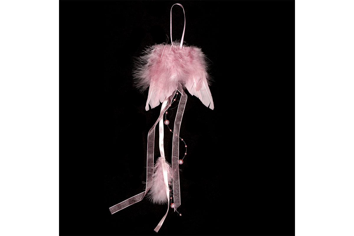 Anjelské krídla z peria, farba ružová, 12 ks v balení, cena za 1 ks