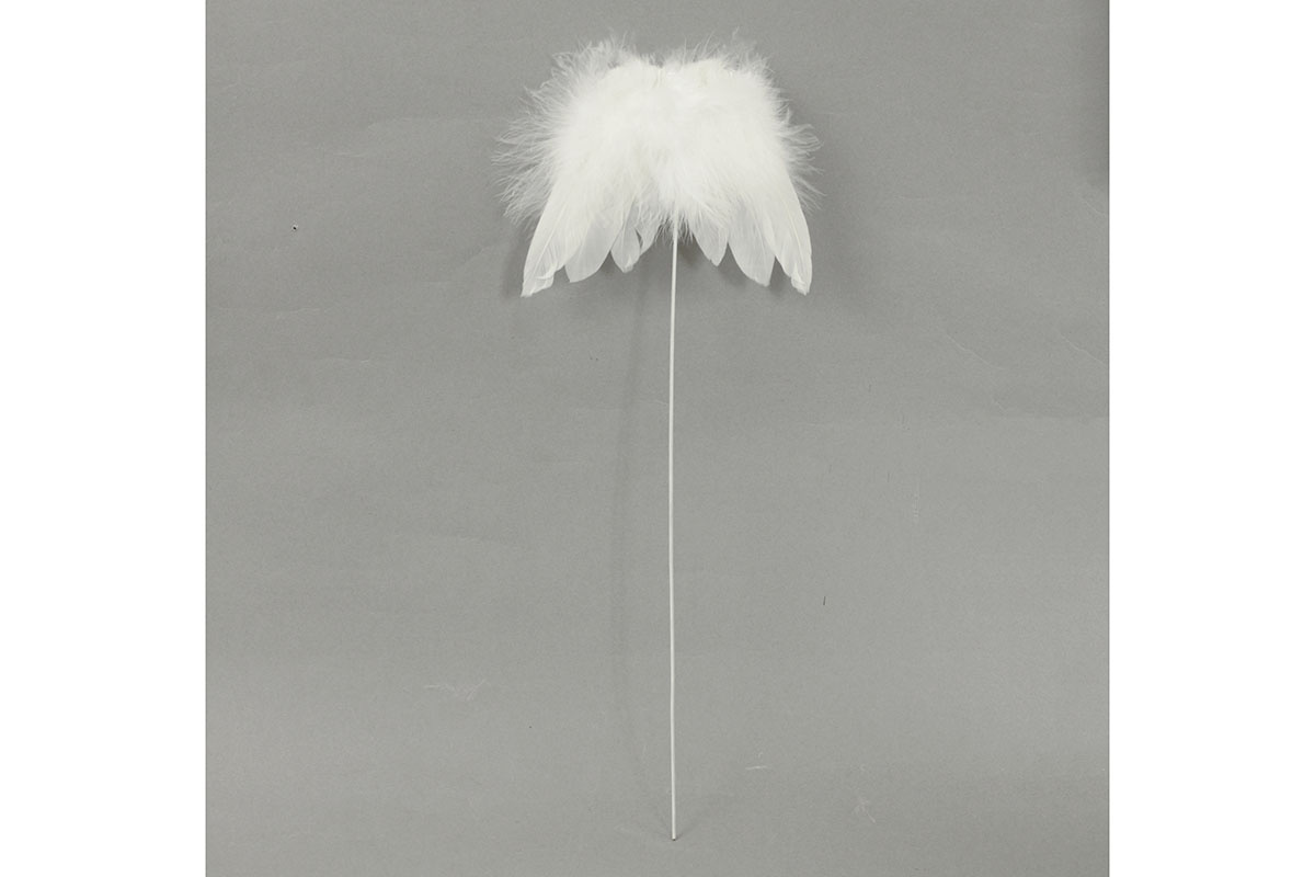Andělská křídla z peří, -zápich, barva bílá,  baleno 12 ks v polybag. Cena za 1 ks.