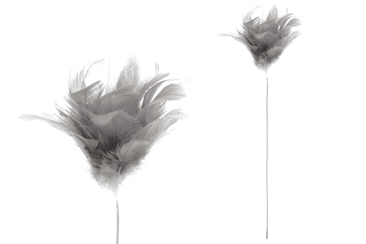Dekorácia z peria, farba sivá, 12 ks v balení, cena za 1 ks