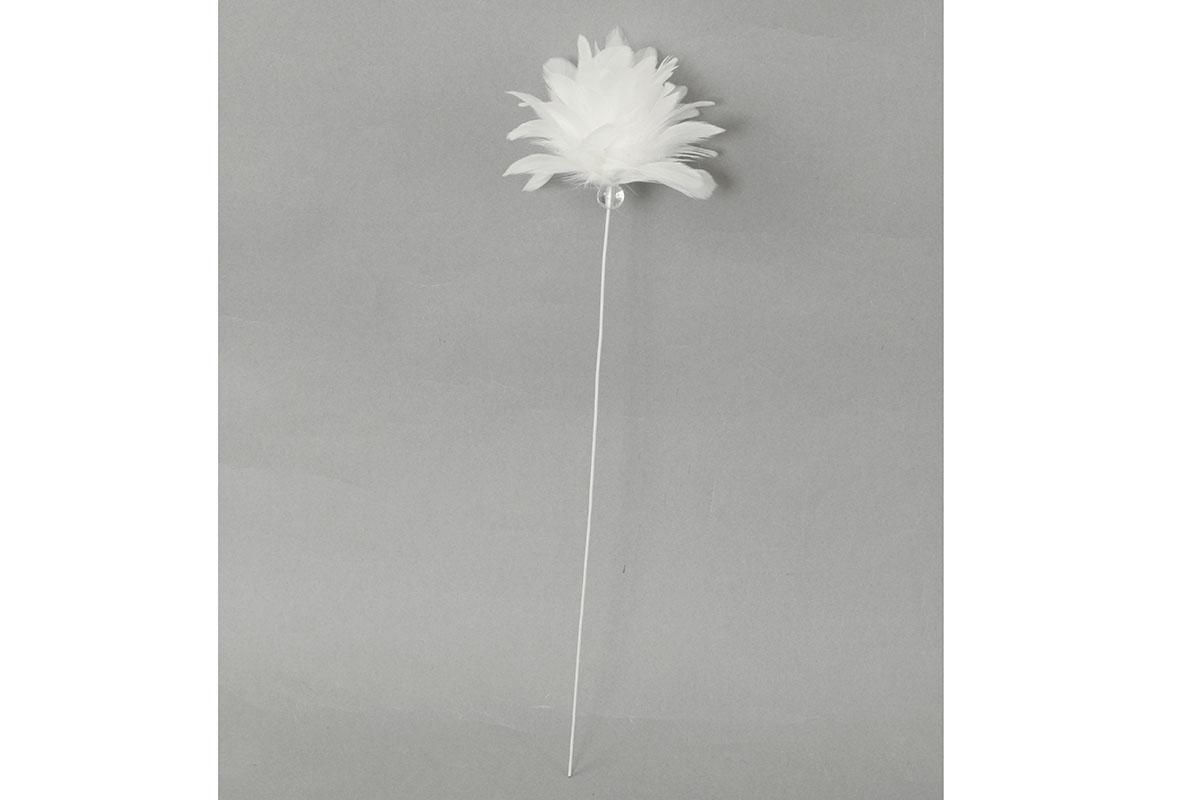 Dekorácia z peria, farba biela, 12 ks v balení, cena za 1 ks