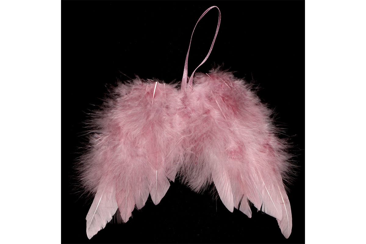 Anjelské krídla z peria, farba ružová, 24 ks v balení, cena za 1 ks