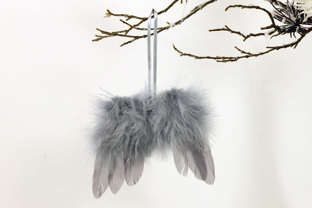 Anjelské krídla z peria, farba sivá, 24 ks v balení, cena za 1 ks