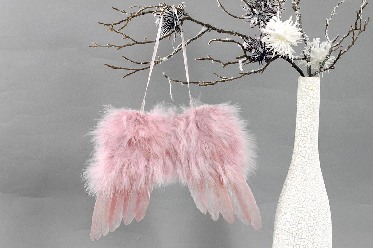 Andělská křídla z peří , barva růžová,  baleno 4 ks v polybag. Cena za 1 ks.