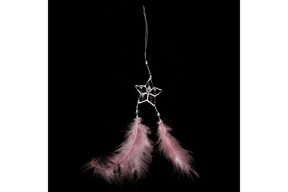Dekorácia z peria závesná, farba ružová, 6 ks v balení, cena za 1 ks