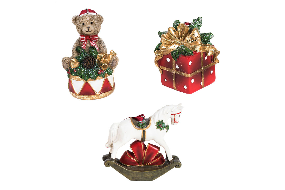 Koník, medvedík a darček z polyrezinu, cena za 1 kus