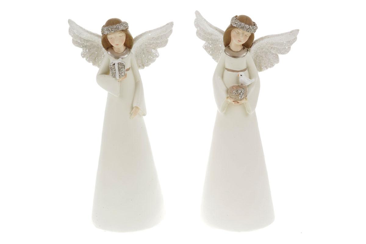 Anděl, vánoční dekorace z polyresinu,barva smetanová, mix 2 tvarů, cena za 1 kus