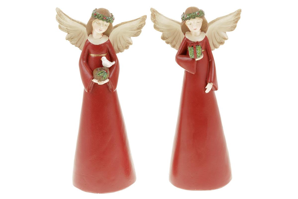 Anděl, vánoční dekorace z polyresinu,barva červená, mix 2 tvarů, cena za 1 kus