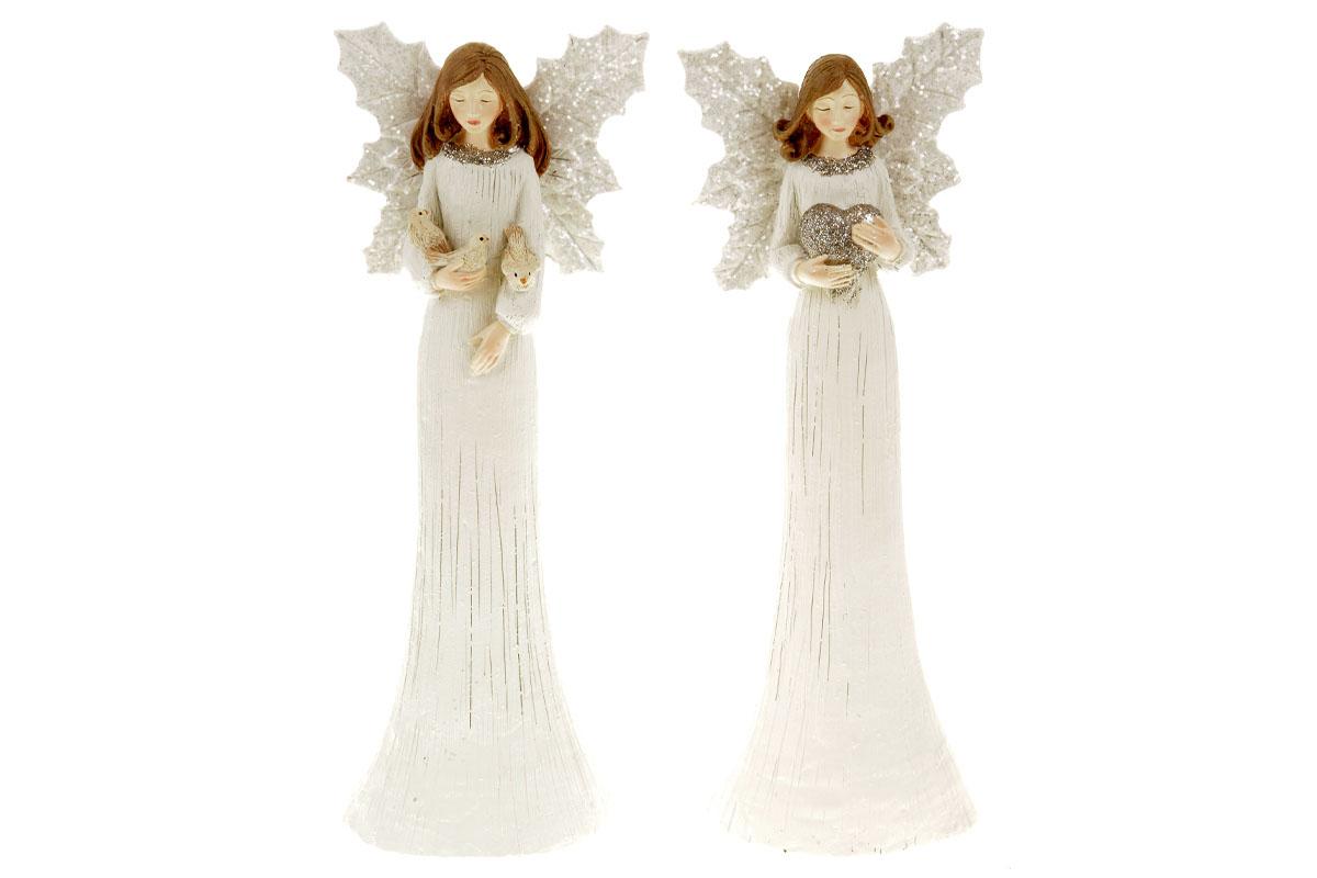 Anděl, vánoční dekorace z polyresinu, barva bílá, mix 2 tvarů, cena za 1 kus