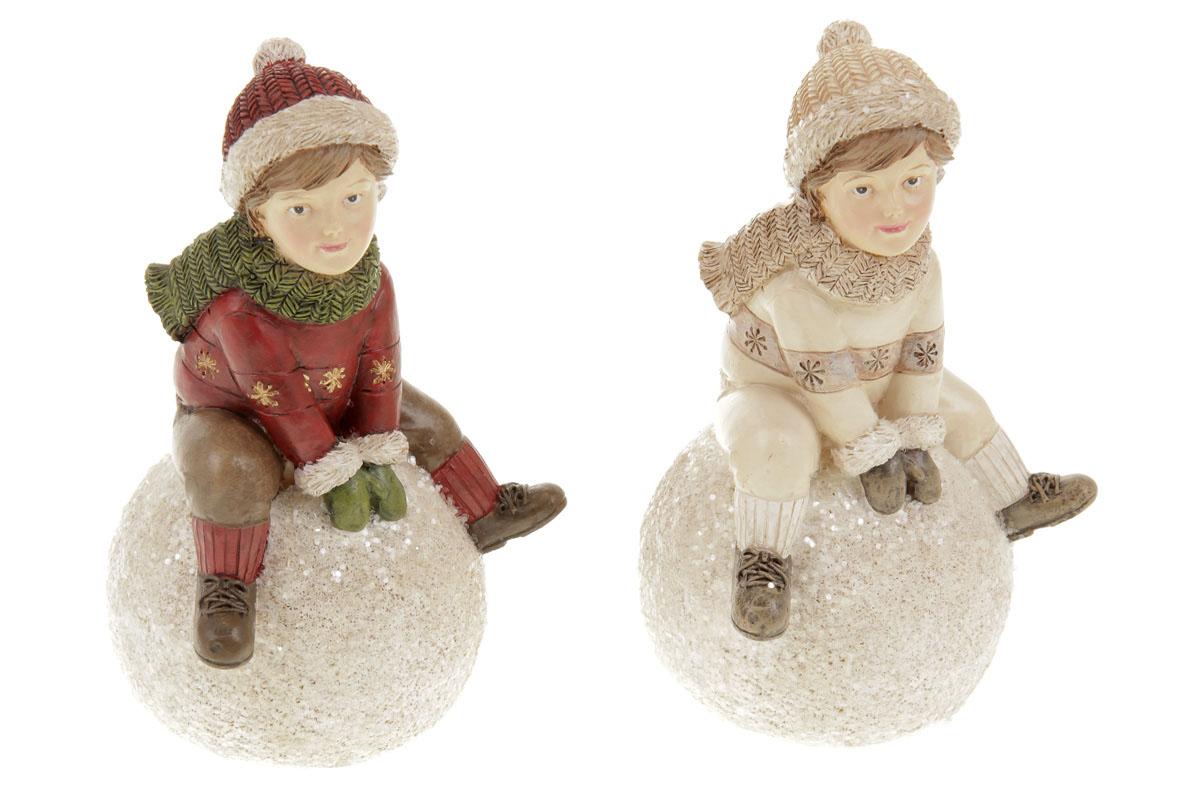 Chlapec se sněhovou koulí, dekorace z polyresinu, mix 2 druhů, cena za 1 kus