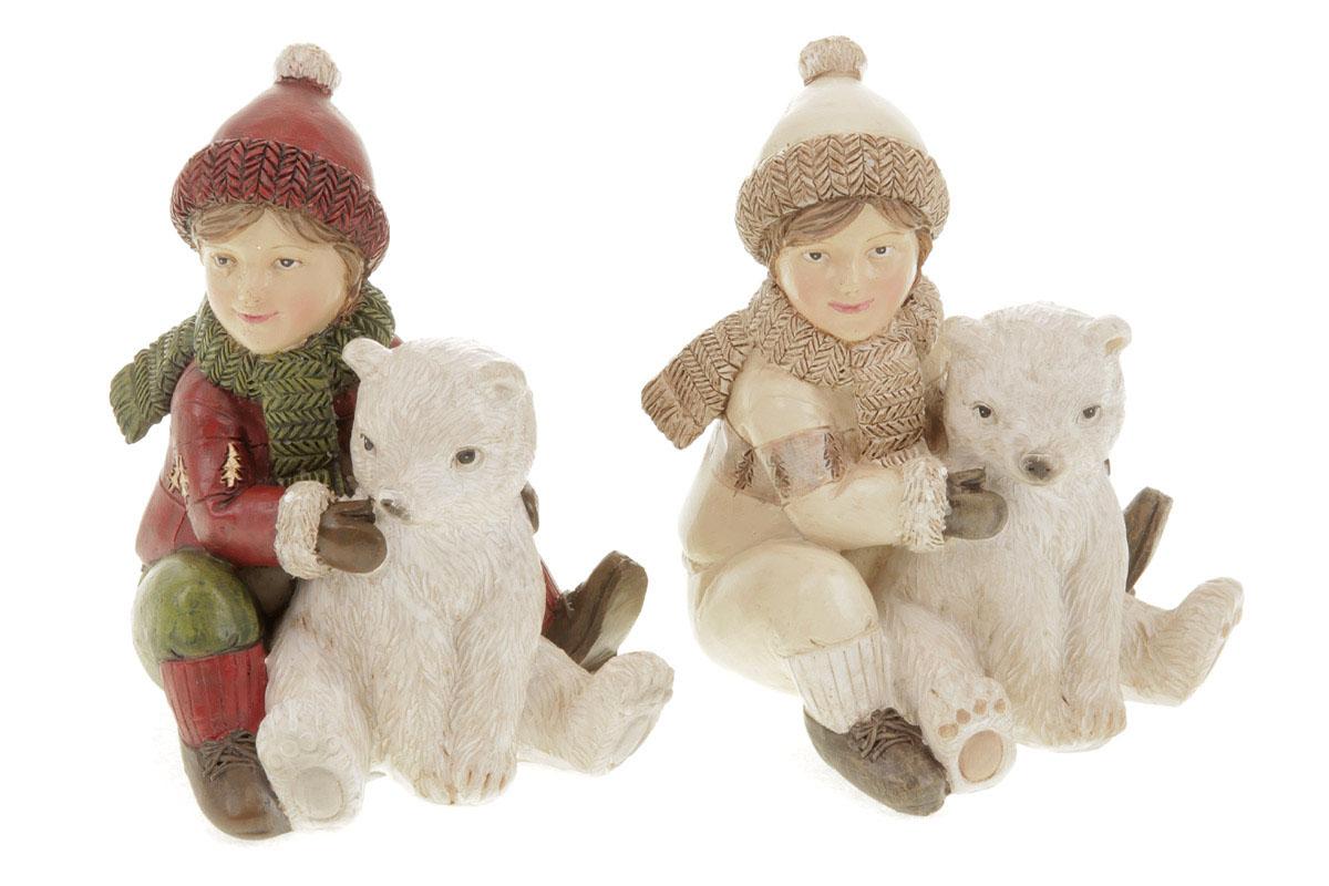 Chlapec s medvídkem, dekorace z polyresinu, mix 2 druhů, cena za 1 kus