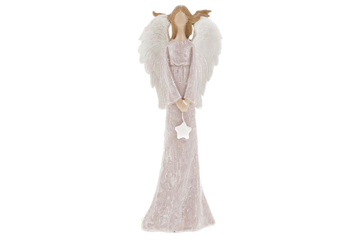 Anděl držící srdce,  polyresin, růžová barva.