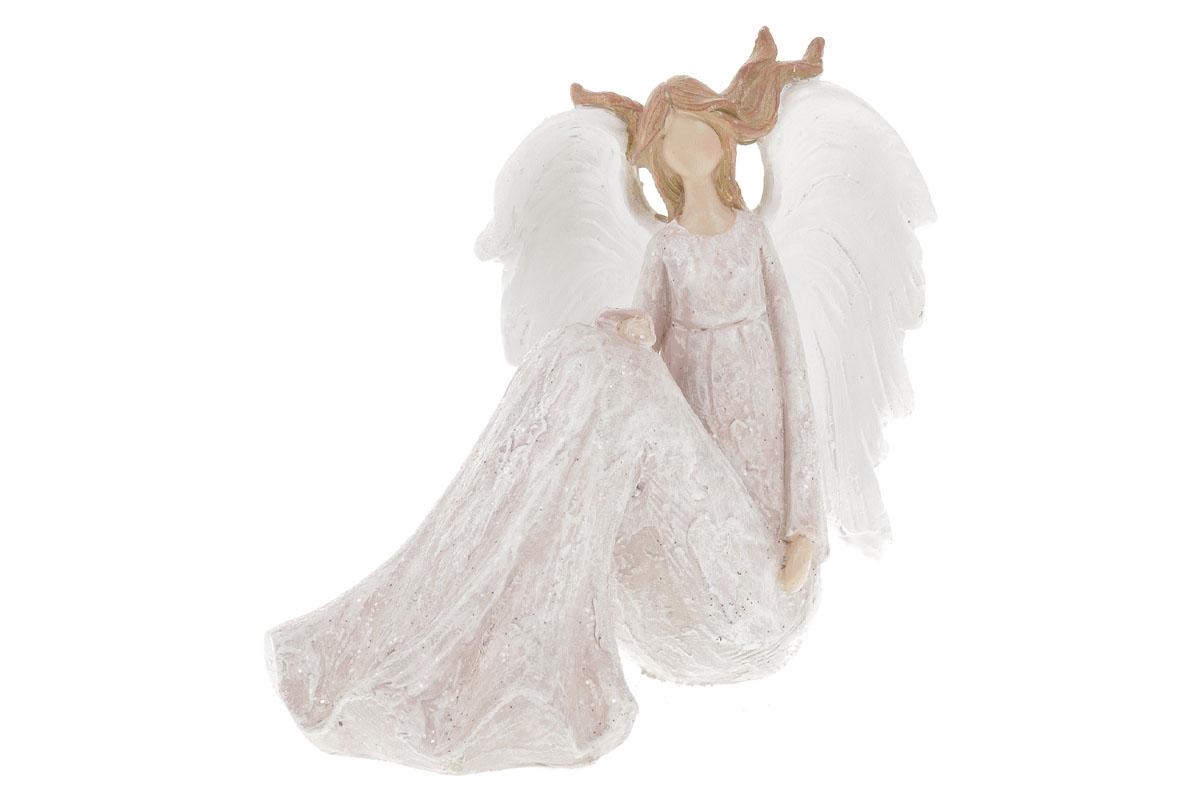 Anděl, vlající vlasy, růžová barva.