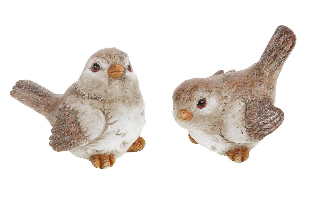 Ptáček, polyresinová dekorace, mix 2 druhů, cena za 1 kus
