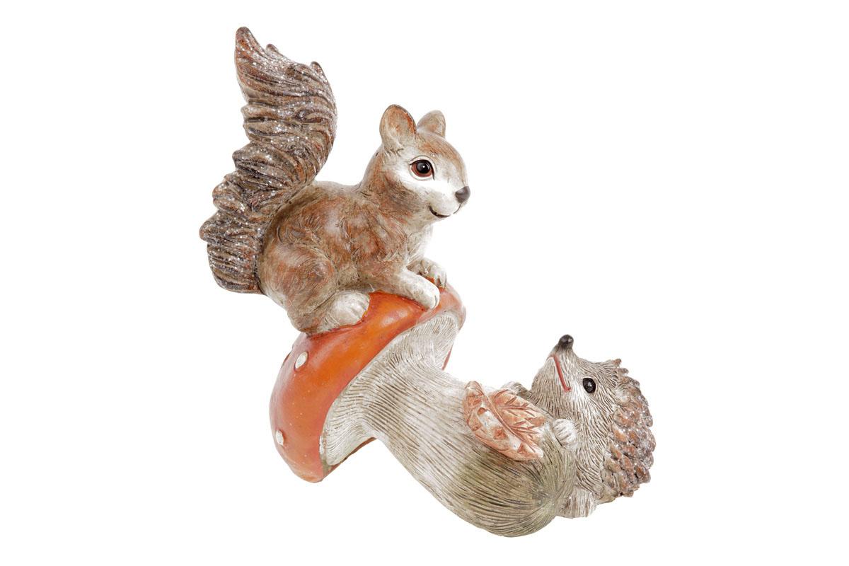 Houba s veverkou a ježkem, polyresinová dekorace