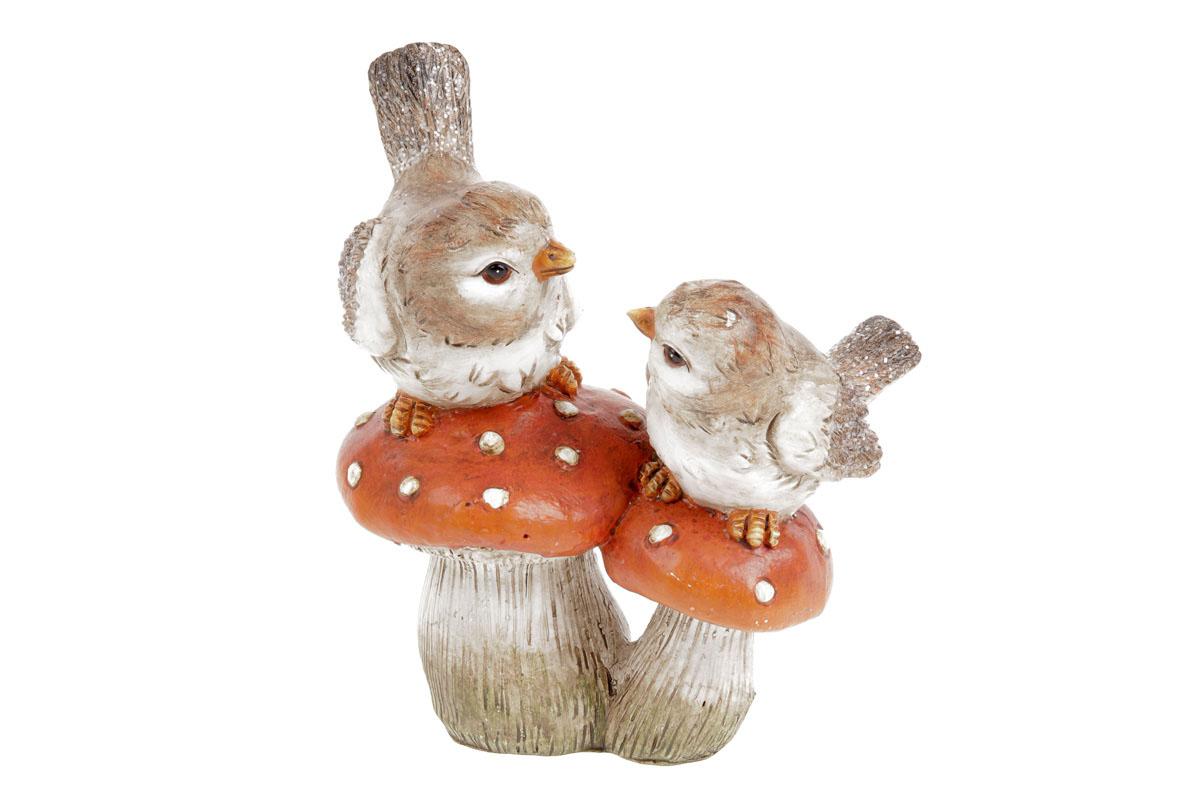 Houby s ptáčky, polyresinová dekorace
