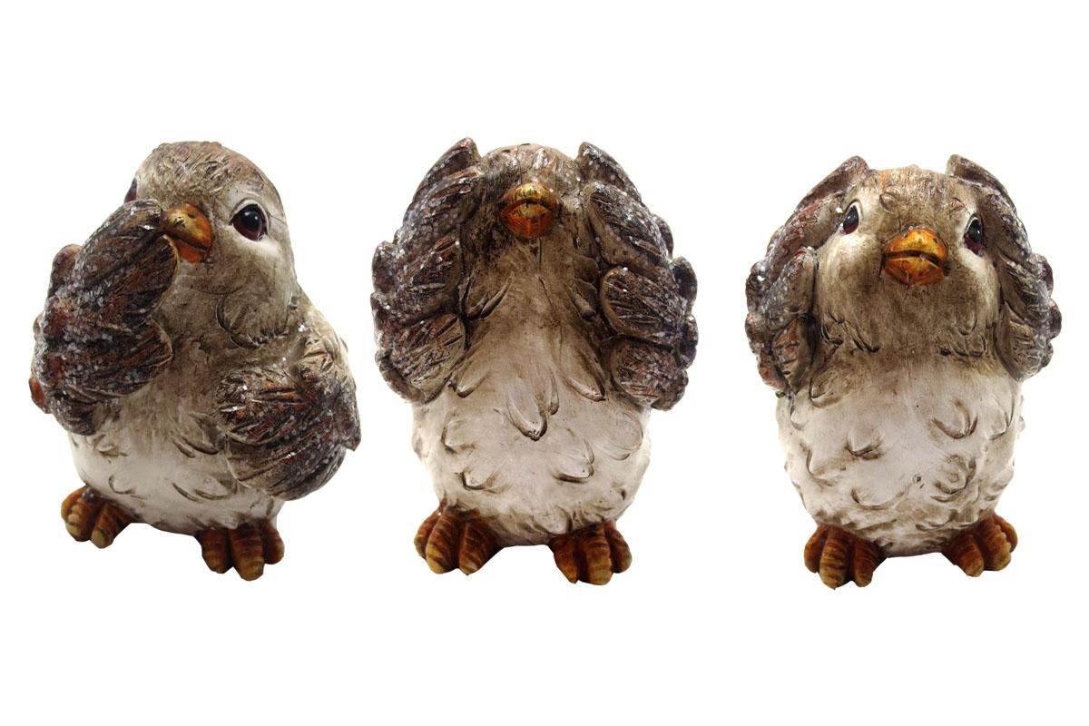 Ptáček, polyresinová dekorace, mix 3 druhů, cena za 1 kus