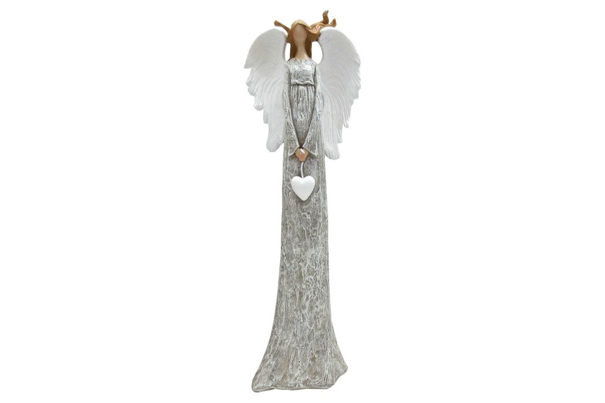 Anděl, vlající vlasy, šedá barva