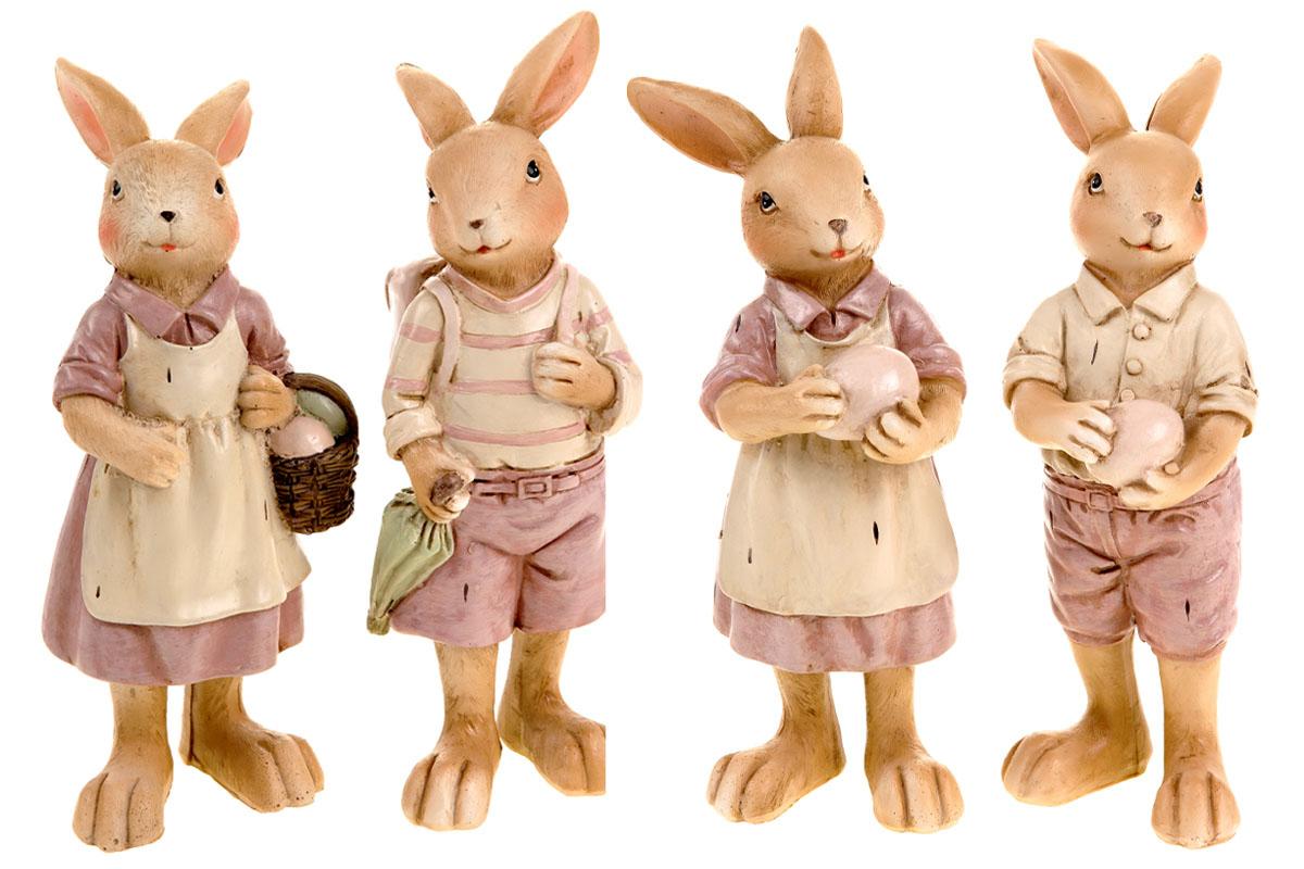 Zajíc nebo zaječice, polyresinová dekorace, mix 4 druhů, cena za 1 kus