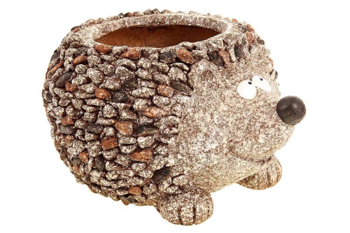 Ježek, dekorace z MgO keramiky s otvorem na květináč