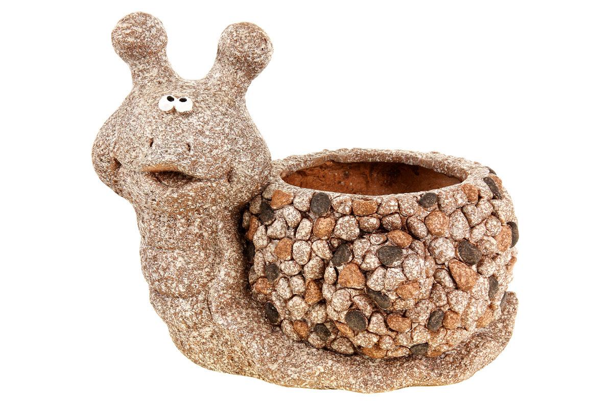 Šnek, dekorace z MgO keramiky s otvorem na květináč