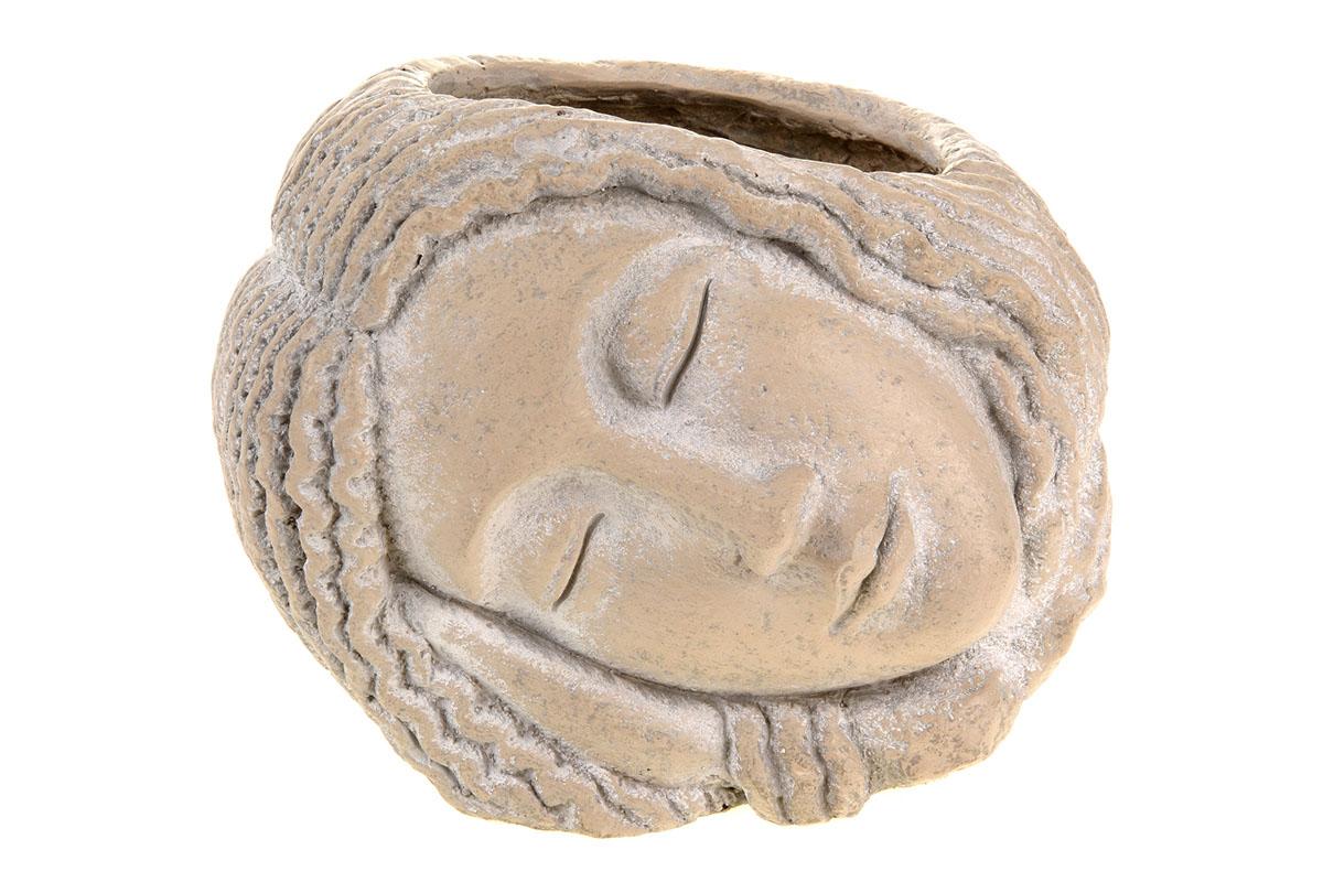 Hlava ženy, dekorace z MgO keramiky s otvorem pro květináč