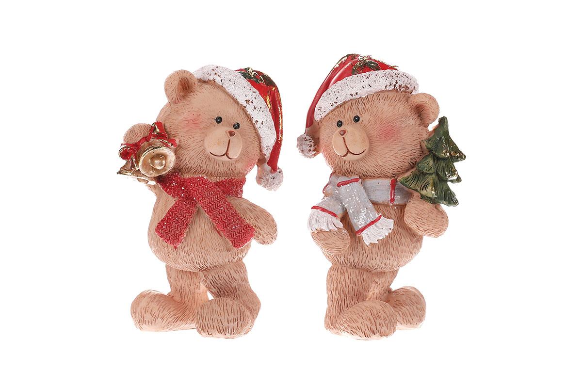 Medvídek vánoční polyresinový, červená kolekce, cena za 1ks. Mix 2druhů.