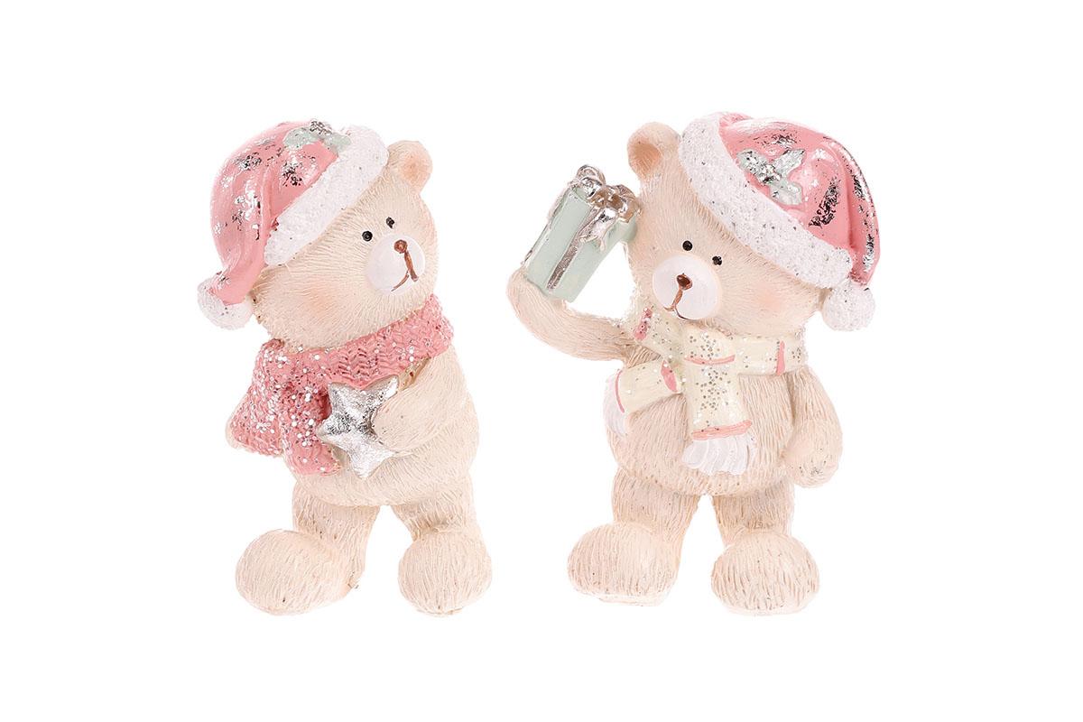 Medvídek vánoční polyresinový, růžová kolekce, cena za 1ks. Mix 2druhů.