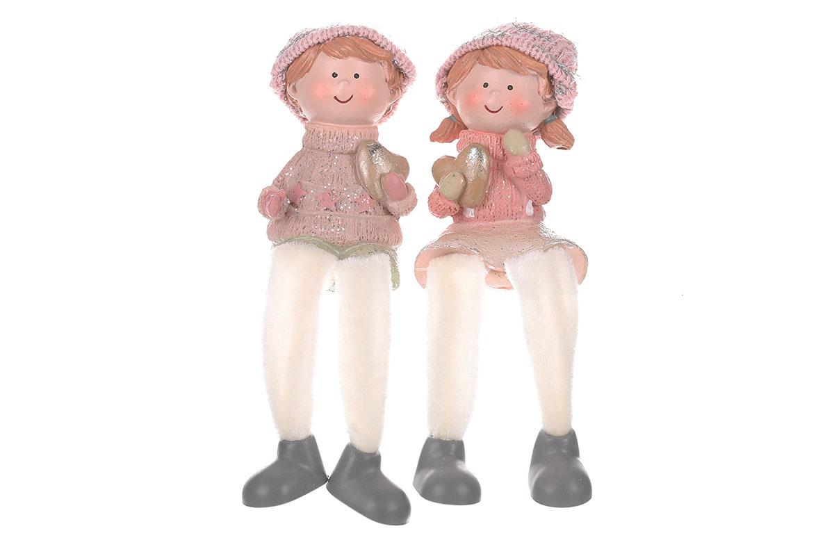 Dívka a chlapec sedící - vánoční polyresinový, růžová kolekce, cena za 1ks. Mix 2druhů.