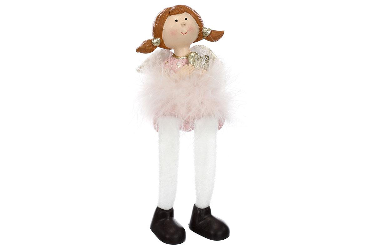 Holčička s péřovou sukýnkou, plandacími nohami, v růžové barvě, polyresin.