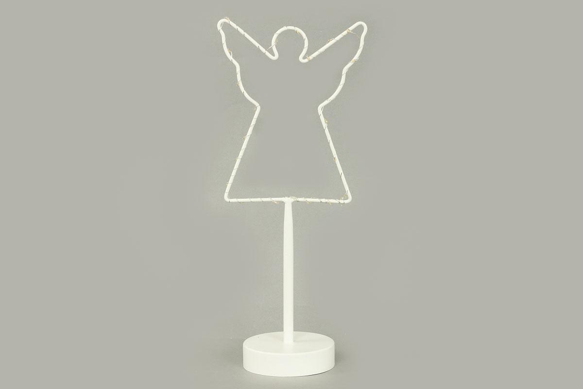 Anděl, vánoční kovová dekorace s LED světlem