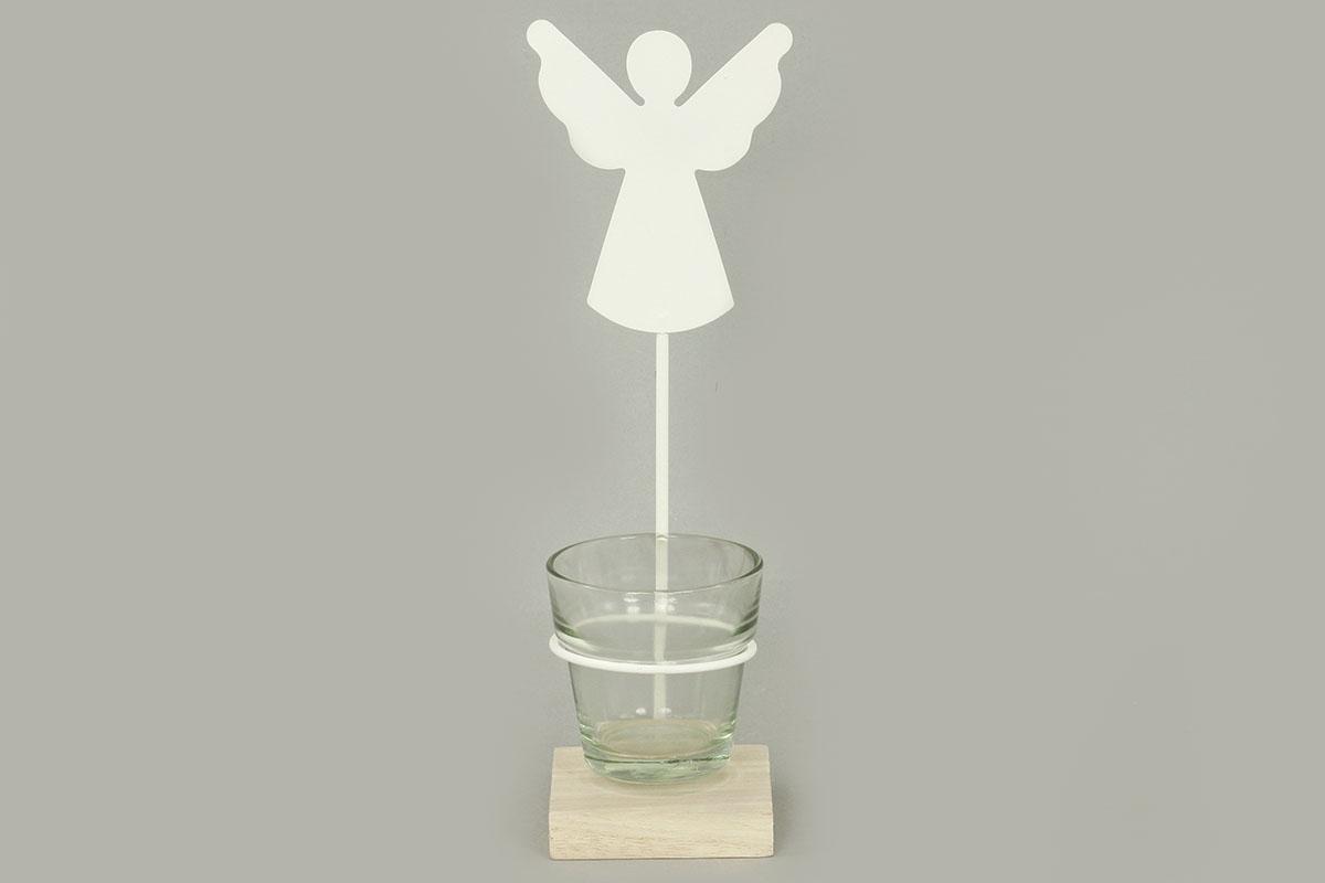 Svícen s andělíčkem,  kovová vánoční dekorace