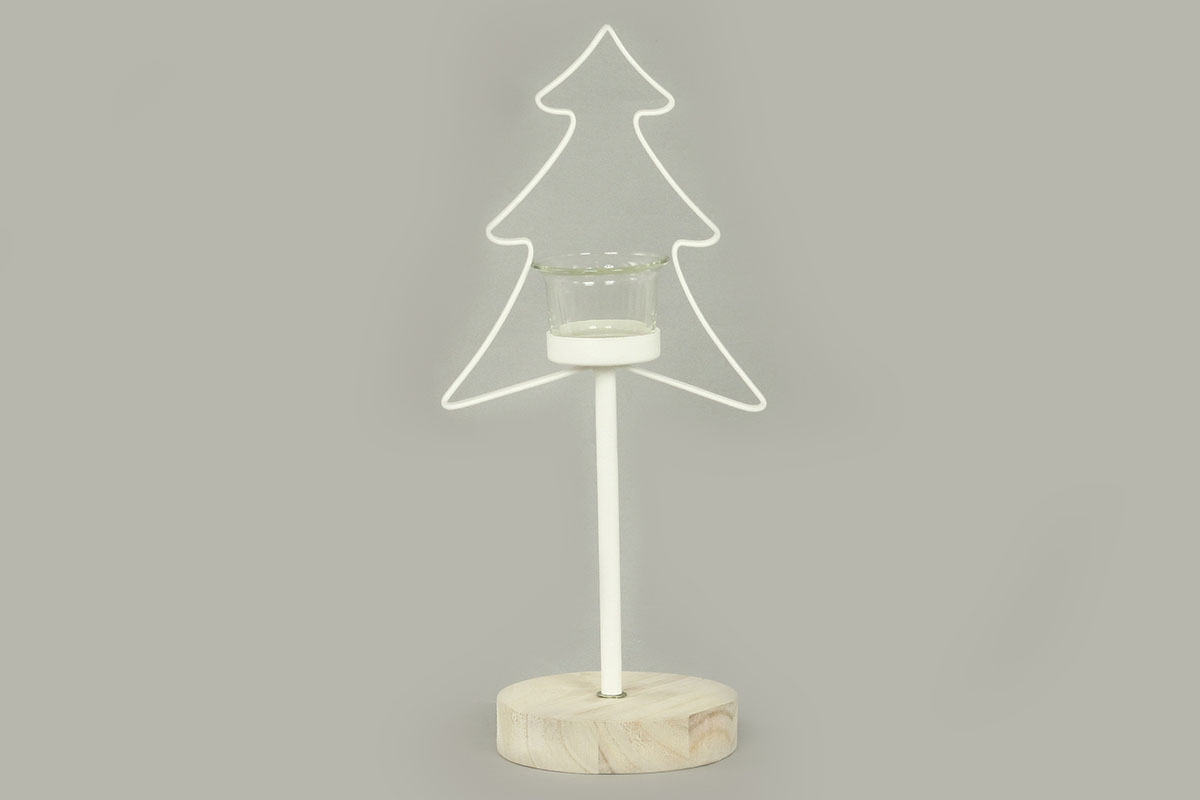 Svícen se stromečkem,  kovová vánoční dekorace