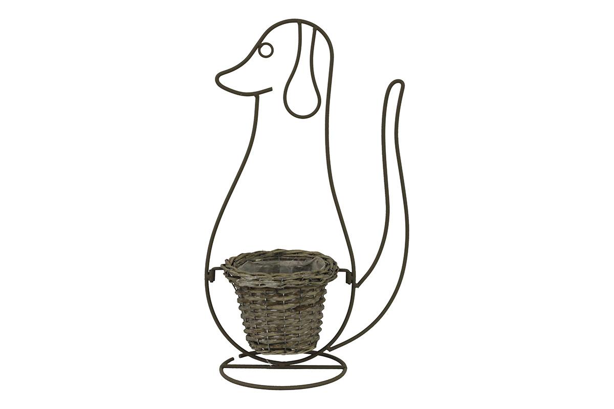 Prútený obal v kovovom stojane v tvare psa
