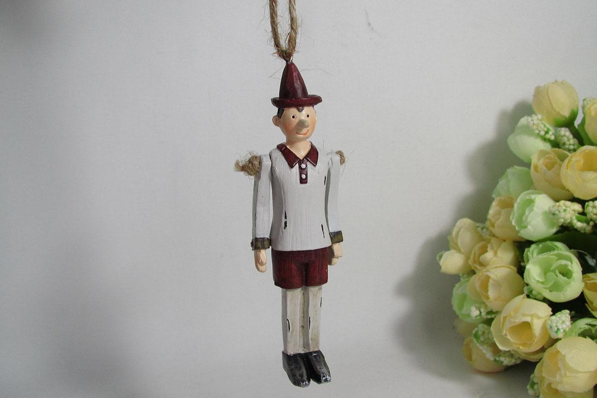 POSTAVIČKA Pinokio na zavesenie, pohyblivé ruky, polystounový