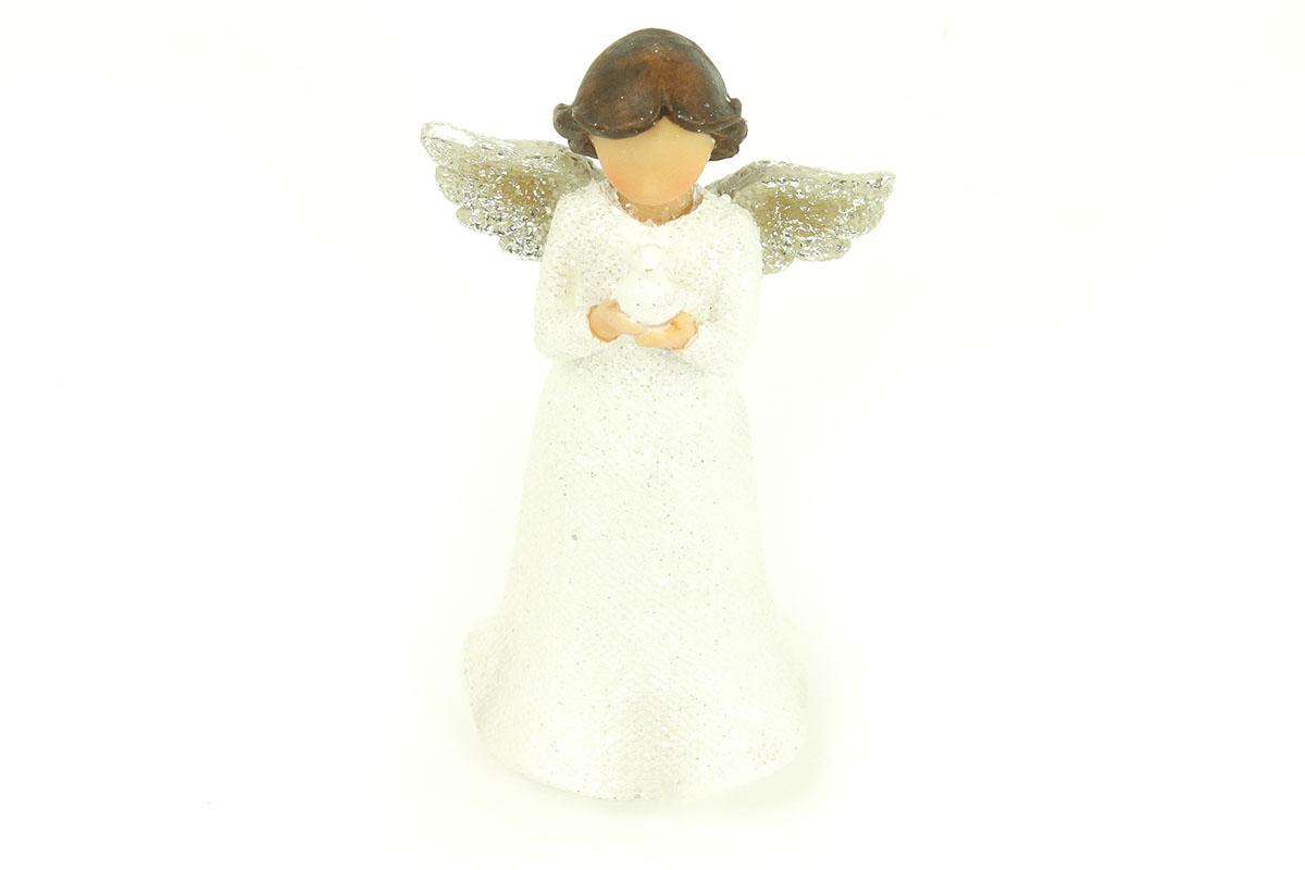 Anjel z polystounu, farba biela s trblietkami