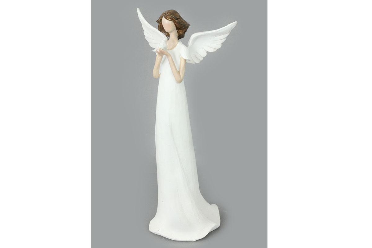 Anjel z polystounu, farba biela