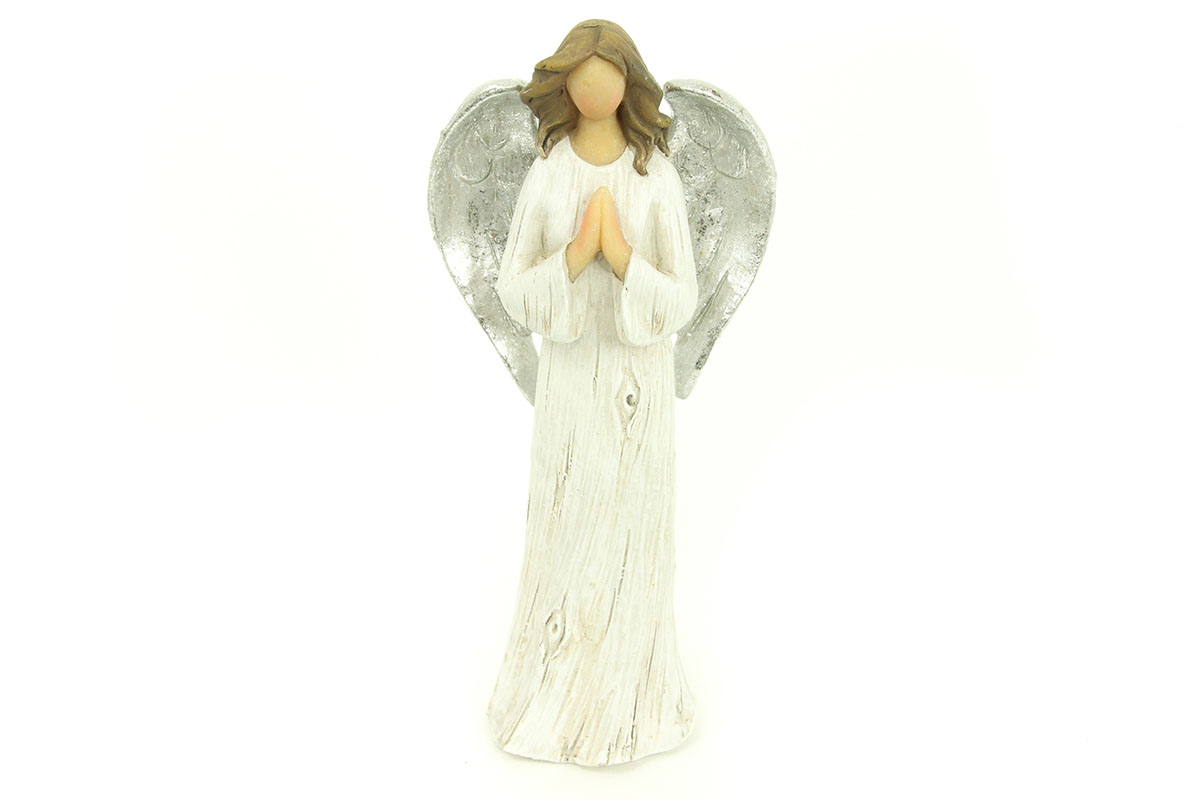 Anjel z polystounu, farba sivo-bielo-strieborná