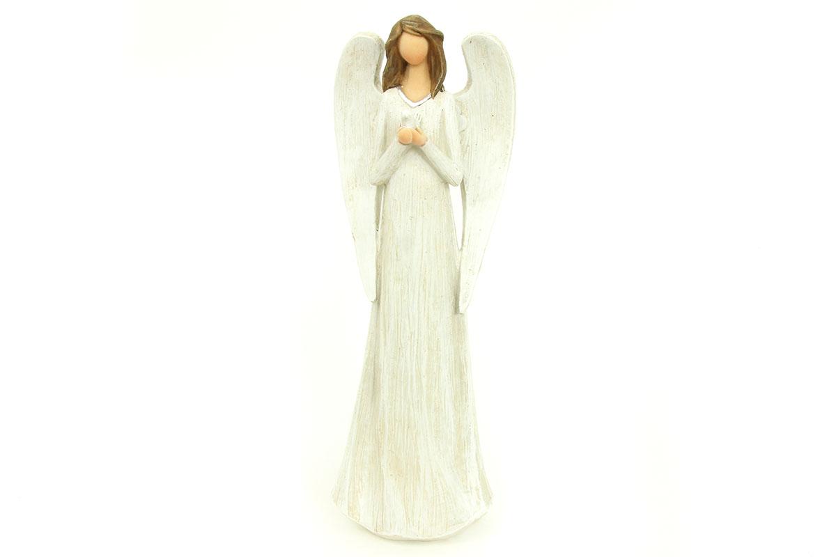 Anjel z polystounu, farba sivo-biela
