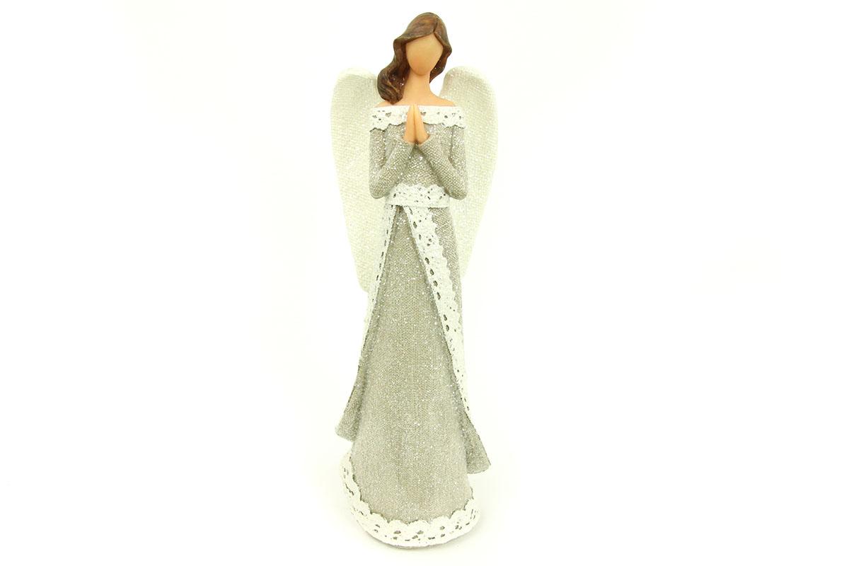Anjel z polystounu, farba hnedá-biela s trblietkami