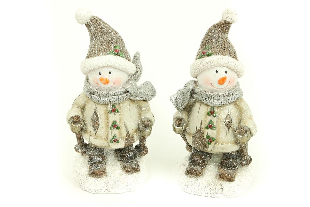 Sněhulák, polyresinová dekorace, barva hnědá-bílá s glitry, mix dvou druhů, cena za 1 kus