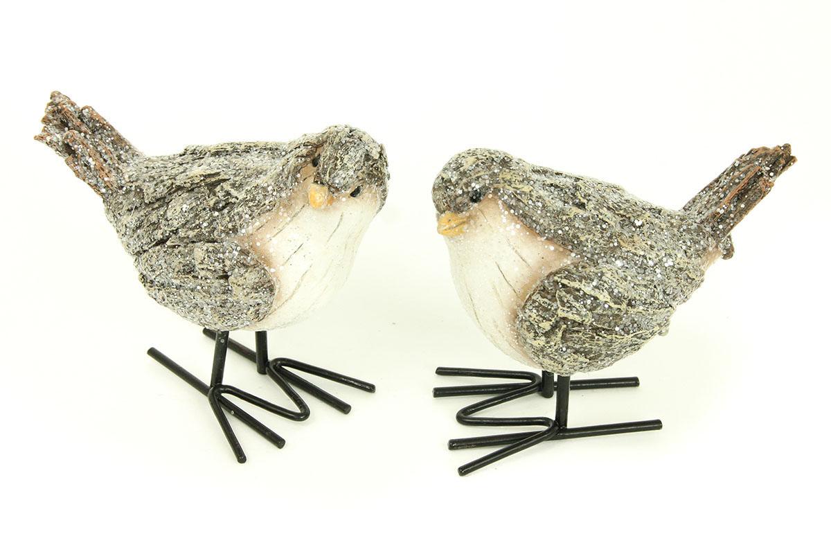 Ptáček, polyresinová dekorace, barva hnědá-bílá s glitry,mix dvou druhů, cena za 1 kus