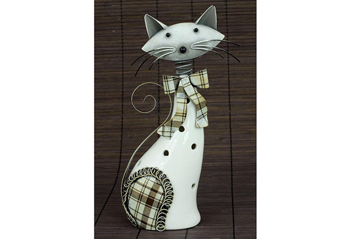 Porcelánová mačka s kovom, farba bielo-hnedá