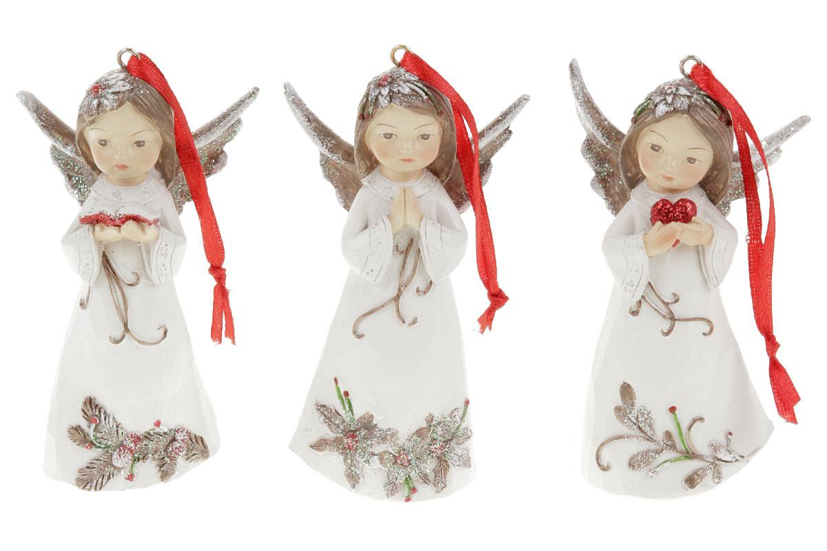 !!!! BUDE BEZ TEXTU NA ŠATECH !!!  Anděl, dekorace na zavěšení z polyresinu, barva bílá s vánočním d